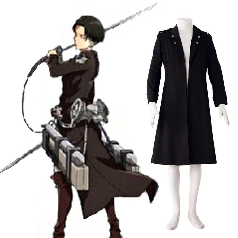 Attack on Titan Levi Sort Cosplay Kostumer Danmark Butik