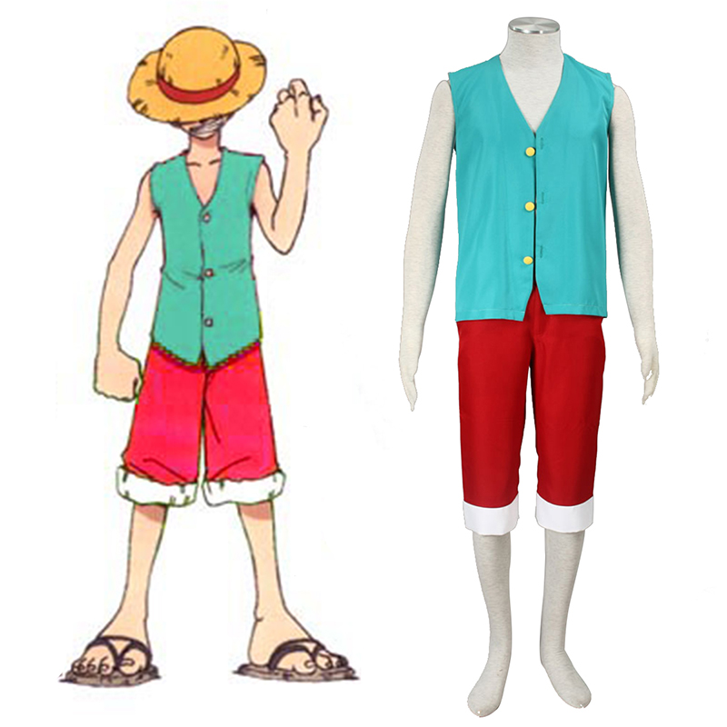 One Piece Monkey D. Luffy 3 Green Cosplay Kostumer Danmark Butik