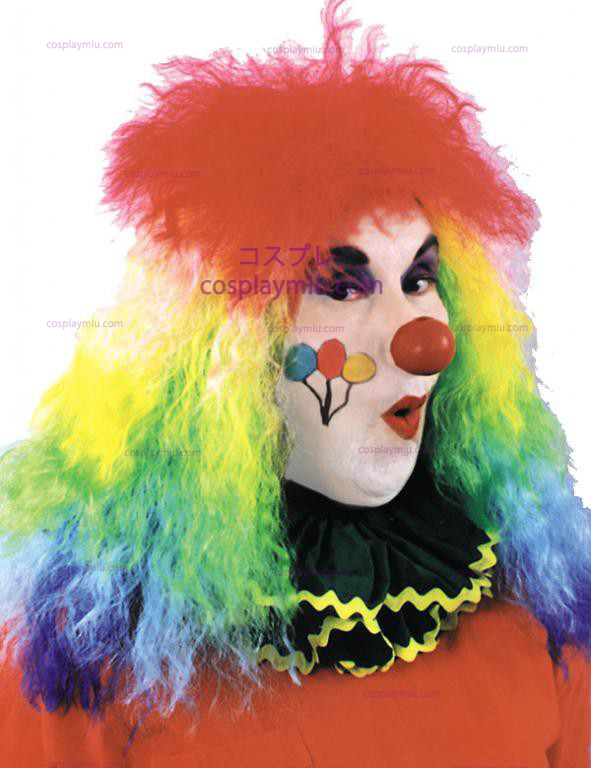 Rainbow Curly Clown Parykken