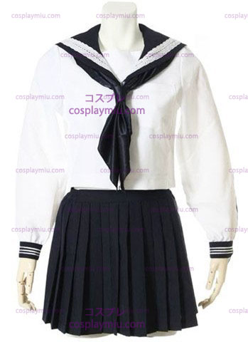 Hvid Long Sleeves Sailor School Ensartet Cosplay Kostumer