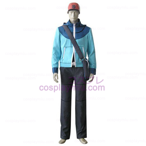 Pokemon Trainer Sort Touya Herre Cosplay Kostumer