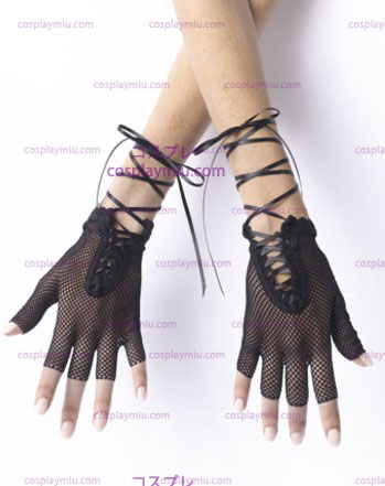 Gloves Fishnet Fingerless Blk
