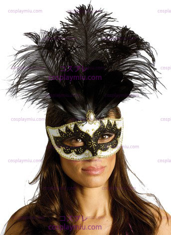 Carnival Maske Big Feather Bk/Sv