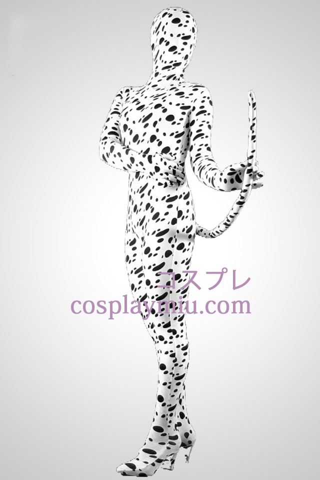 Dalmatinere Skin Lycra Spandex Unisex Zentai Suit Med Tail