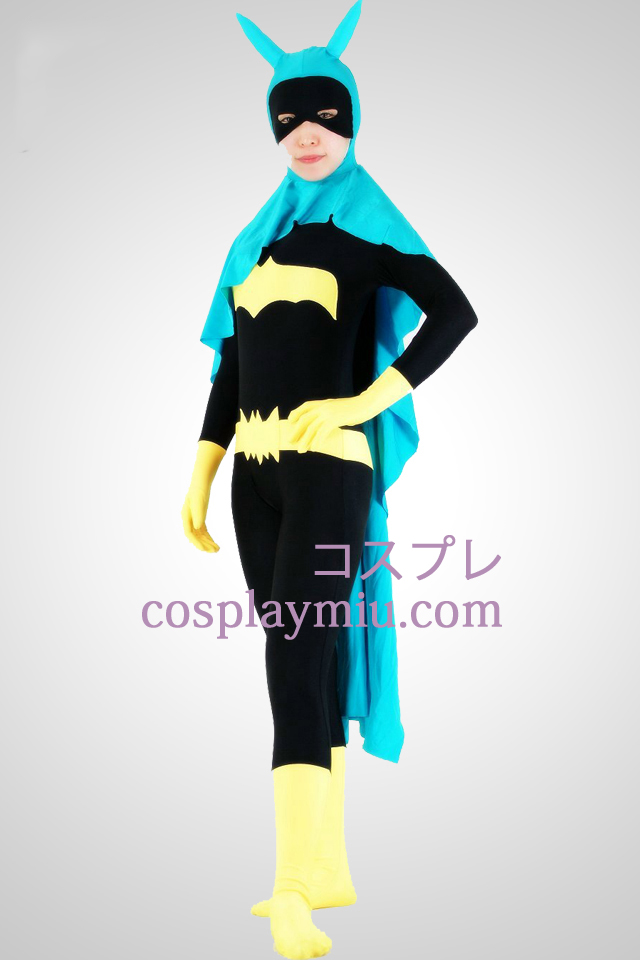 Bat Woman Lycra Superhero Zentai Suit med Kap