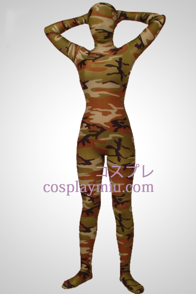 Army Green Kamouflage Lycra Full Body Zentai Suit