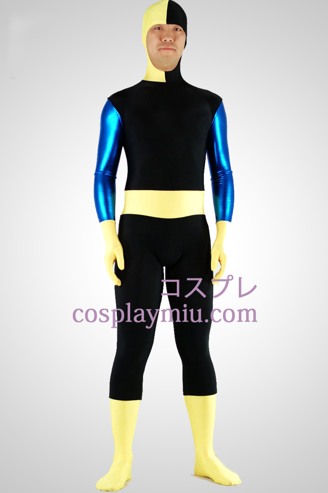 Sort Lycra Spandex Zentai Suit med Face Open