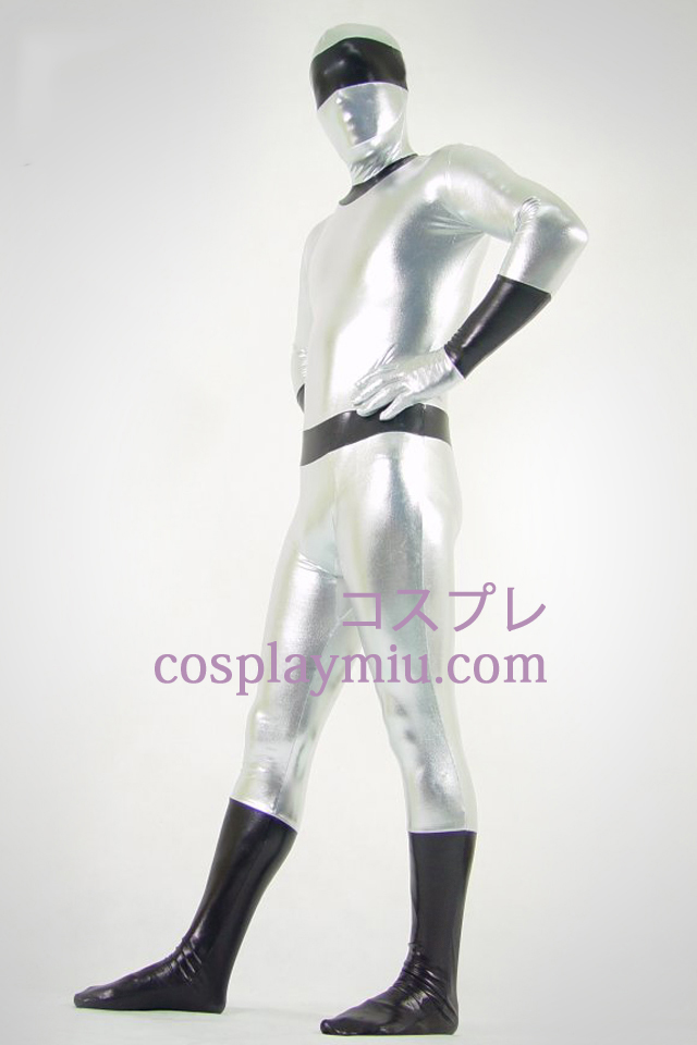 Sølv og sort Shiny Metallic Zentai Suit