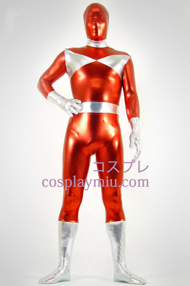 Sølv og Red Shiny Metallic Zentai Suit