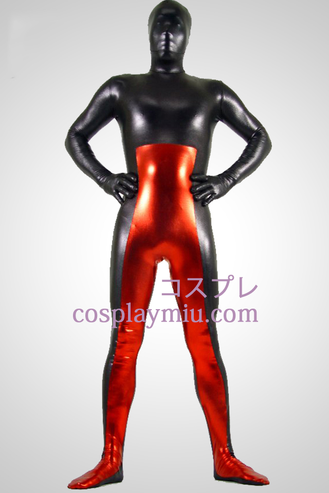 Sort og rød Shiny Metallic Zentai Suit