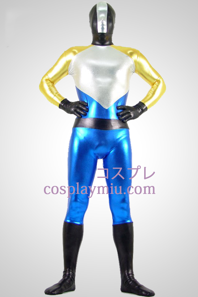 Shiny Metallic Silver og Blue Zentai