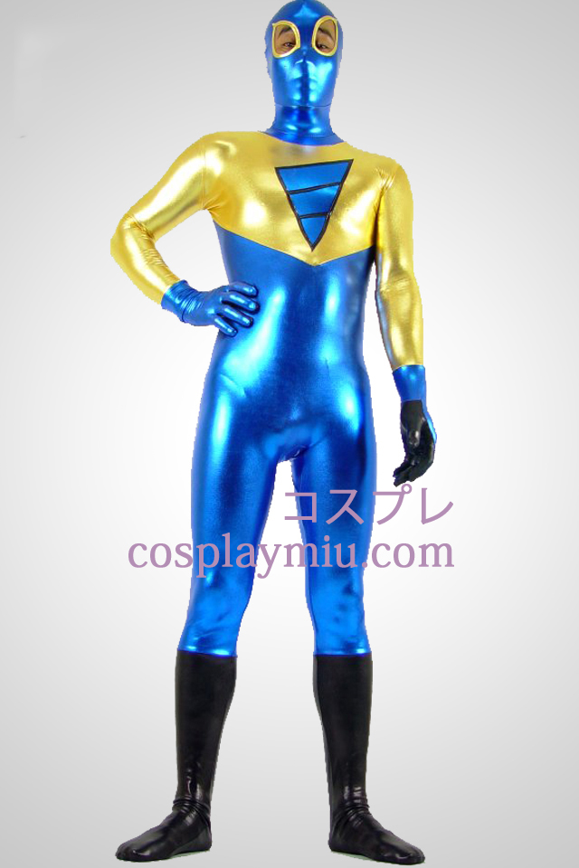 Shiny Metallic Golden Black and Blue Zentai Suit Med Eye Open