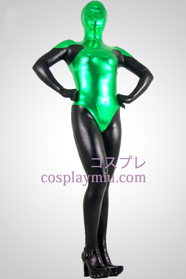 Sort og grøn Shiny Metallic Zentai Suit