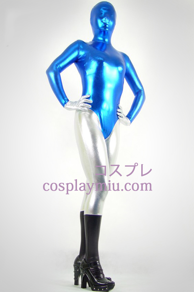 Sort blå og sølv Shiny Metallic Zentai Suit