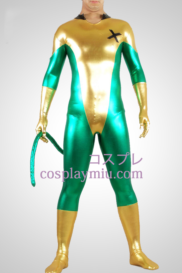 Shiny Metallic Green And Yellow Unisex Zentai Suit Med Tail