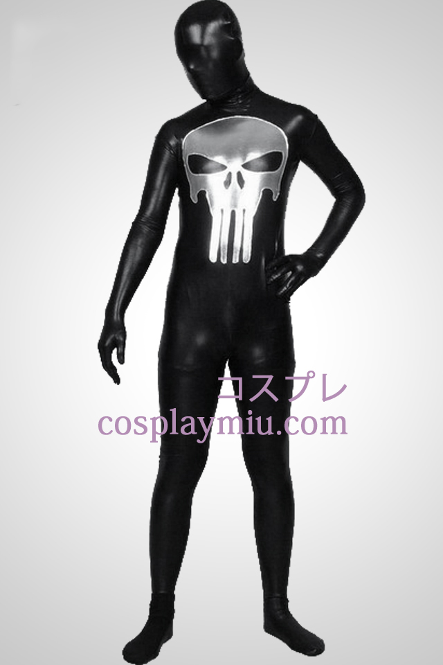Black Shiny Metallic Punisher Mønster Zentai Suit
