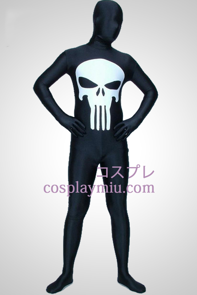 Black Punisher Lycra Zentai Suit