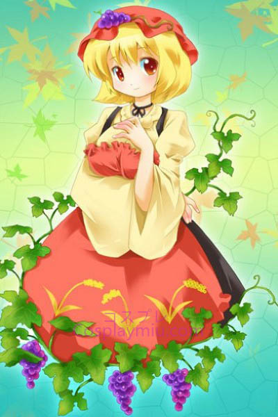 Touhou Project Aki Minoriko Cute Short Blond Bottom Cosplay Paryk